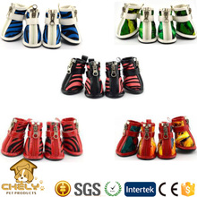 Red Zebra Stripes Fashion Dog SHoes For Summer Made of Mesh Fabric