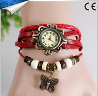 2015 New Design Women Bracelet Decoration Quartz Wrist Watch Design Butterfly Ornaments Leather Gift Butterfly Watches