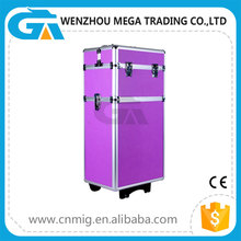 Aluminum cosmetic train case profesional makeup trolley box