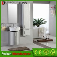 Modern wall mounted round bathroom cabinet with storage box FS043