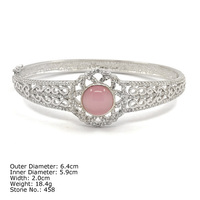 [ CZQ-0042 ] 925 Sterling Silver Jewelry Zirconia Bangle
