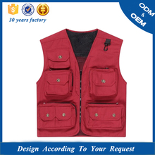 High Quality EU Standard Red Canvas Photo Vest With Multi-pockets