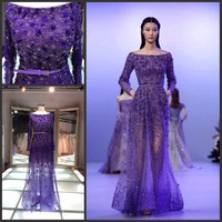 2015 fashion show modren evening dress/sexy long sleeves zipup beading purple sequins formal corset mini evening dress