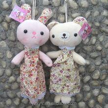 Customize pencil bags flower rabbit,cartoon plush pen bag for girl