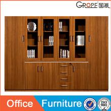 Asia style 2 door wooden sliding glass door filing cabinet for office furniture