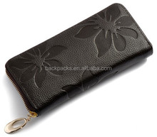 New Fashion Style The best Genuine Leather Zip Around Flower pattern Lady Women Long Wallet Purse Handbag