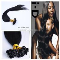 High quality Remy Brazilian virgin straight human hair no chemical nail tip U tip hair extension