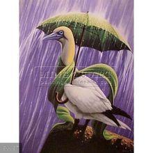 100% Handmade Pop Surrealism fantasy Umbrella oil Painting on canvas, cartoon animal with umbrella in the rain