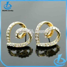 Gold rhinestone chic heart earrings of aaa