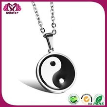 Unique style free shipping factory wholesale Yin Yang Round Plate Necklace