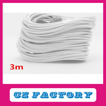 8PIN Colorful 10FT 3M Flat Noodle Fabric Nylon Braided Woven USB Charger Data Sync Cable for iPhone 5 5S 5C 6 plus iOS8