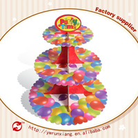 Fashion Colorful design 3 tier paper cardboard cupcake stand,wholesale wedding cake stand