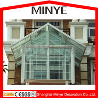 Shanghai hot residential balcony aluminum frame strong Patio sunrooms,garden house design greenroom,glass sunroom,