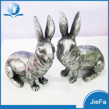 antique silve large heavy easter rabbit pair/ easter bunny pair in paper mache for home / garden decorations