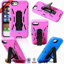 soft Anti-shock silicone+PC skin robot stand case for iphone 5