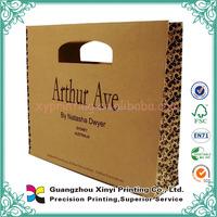 Custom logo printed natural brown flat handle kraft paper hand bag
