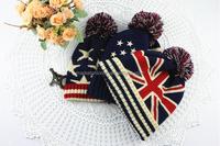 Winter Ski Beanies Knit Hats with Pom Pom for Lady