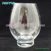 2015 new design slanted oval clear different types glass vase