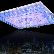 Bule color crystal ceiling lamp, large crystal ceiling lamp for hotel