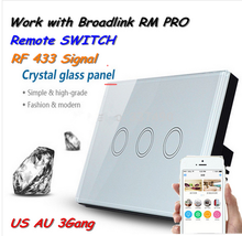 Broadlink 3 Gang TC1/TC2 Wireless Remote Control Wifi Wall Light Touch Screen Switch 433MHZ Smart Home Automation Android IOS