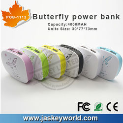 4000MAH Portable Mini Butterfly Power Bank work for brand cell phones