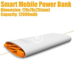 12000mAh Smart Mobile Power Bank with Dual USB Output for iPhone iPad Smartphone Made in China