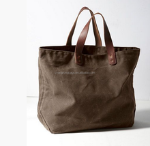 high quality and vintage Waxed Canvas Tote in Military Green Brown Leather,long strap canvas canvas tote ,canvas garden tote