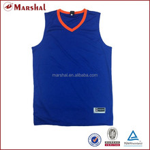 Wholesale plain blue basketball wear,top quality jersey basketball factory in Guangzhou