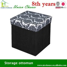2015 good-selling squae fabric fancy cube stool with printing cover