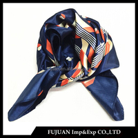 Fashion Japanese 100 silk satin square scarf for airline stewardess