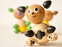 Assembling Small Wooden Spinning Top Set Of Nine Pieces