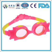 Fashion and long lasting anti-fog baby swimming goggles in pink and yellow color (7120S)