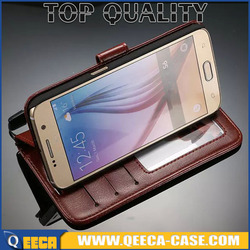 5.1' luxury Folio PU flip cover & card holder slot stand Wallet Leather Case for Samsung Galaxy S6 G920 can Hybrid Strip Pattern
