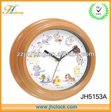 Reloj de pared de madera con sonidos de animales pequeño reloj antiguo reloj de cuarzo