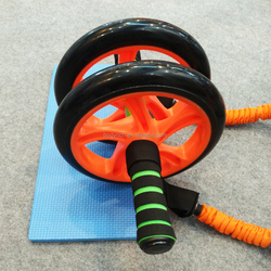 New Core Double Wheels Ab Roller Pull Rope Abdominal Waist Slimming abdominal exercise equipment