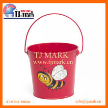 KIDS RED BUCKET W/BEE DESIGN IRON BUCKET