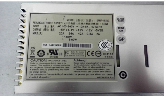 Блок электропитания для ПК Server Power Supply efrp/553v3 550W EFRP-553