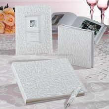White Beaded Photo Guestbook & Pen Set