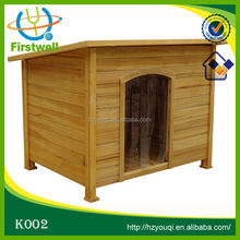 Super cheap wood dog house with door curtains
