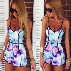 Foreign trade 2015 Europe and the new straps off shoulder sexy jumpsuit shorts backless high waist printed short pants