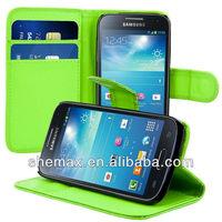 Elegant Plain Wallet Cover case for Samsung Galaxy S4 Mini i9190