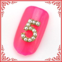 RH1360 Luxury Jewelry 3D Silver Alloy Metal Imitation Pearl No.5 Charm Nail Art