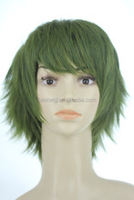 synthetic cospaly wig medium green Hot sales boy's cospaly wig