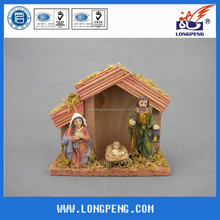 Wholesale Polyresin Nativity Sets, Religious Statues for Christmas with Wooden House