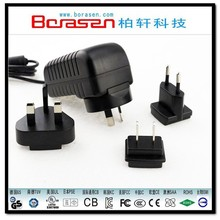 Hot Selling! 12V/2A ac dc adapter Wall Charger, 24W power supply Charger with interchangeable plugs.