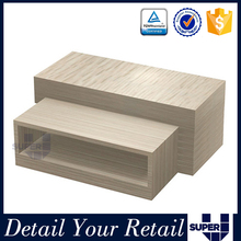 Commercial 2-tiers portable MDF promotional garment showing display table