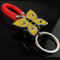 free shipping Wholesale stock zinc alloy with red rubber butterfly Keychain/keyring for women's hand bag for women's hand bag
