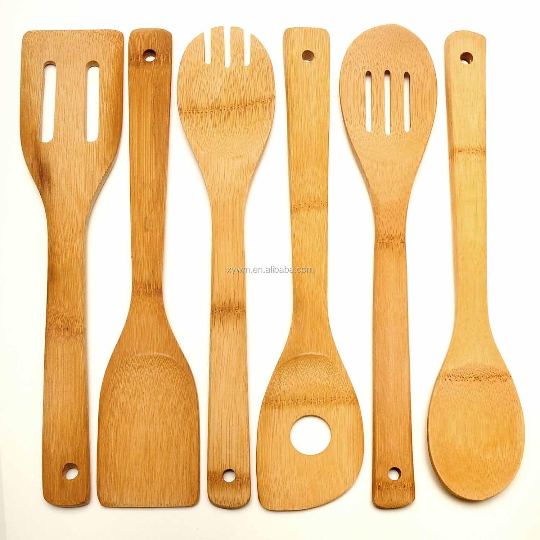 cucchiai di legno di bambù 6 e cucina di strumenti di spatola 12 ... - Strumenti Cucina