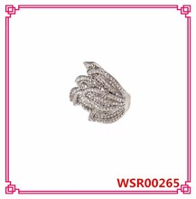 2015 New European Fashion Leaves Silver Crystal Ring