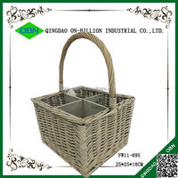 Cheap wicker basket for wine bottles with handle